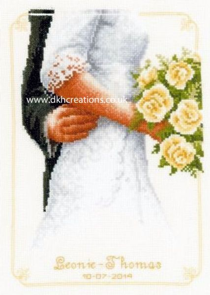 Bridal Bouquet With Roses Wedding Sampler Cross Stitch Kit